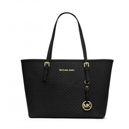 Michael Kors Jet Set Perforated Travel Tote Black